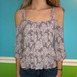 Charlotte Russe lilac shirt with designs